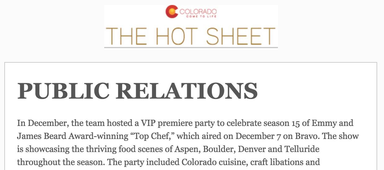 Colorado Hot Sheet